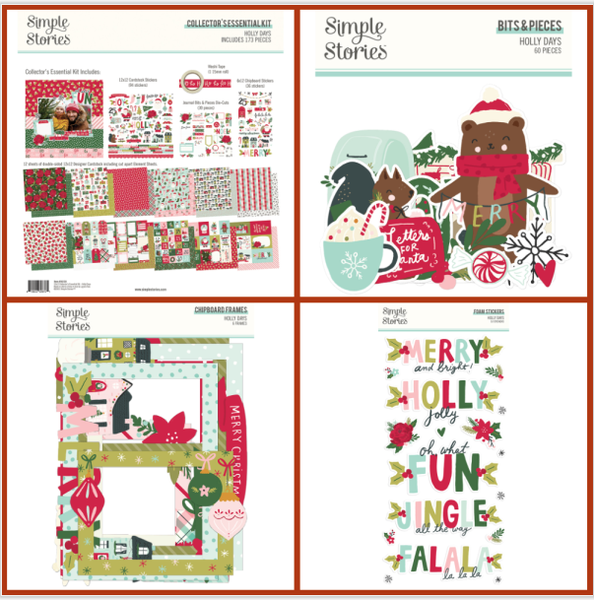 Simple Stories Holly Days 4 pc Happy Scrappy Bag