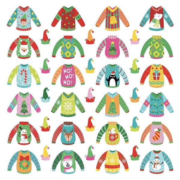 PhotoPlay Tulla and Norbert's Christmas Party 12 x 12 Single Sided Paper - Pre-Colored Die Cut Outs - Ugly Sweater 2 sheets