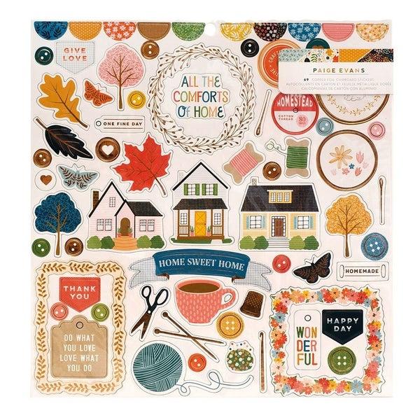 Paige Evans  Bungalow Lane 12 x 12 Chipboard Stickers with Copper Foil Accents