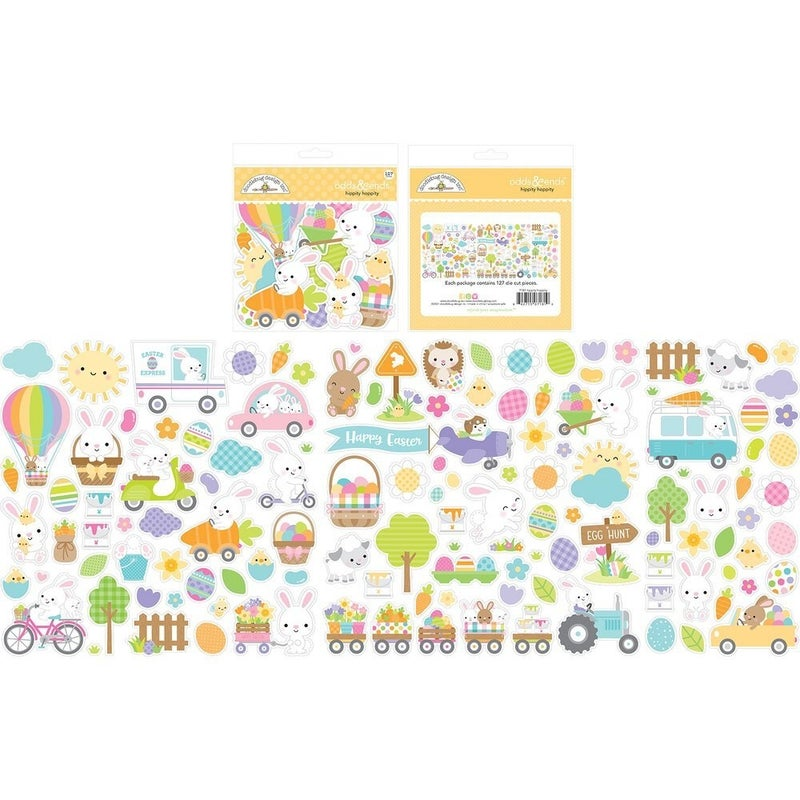 Doodlebug Design Hippity Hoppity Collection Odds and Ends  Die Cut Cardstock Pieces