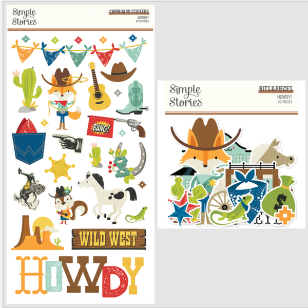 Simple Stories HOWDY Chipboard and Bits and Pieces lot