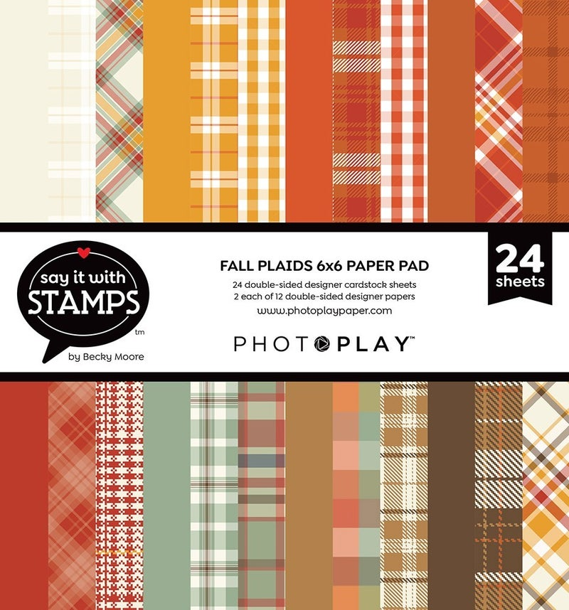 Photo Play Say It With Stamps 6 x 6 Paper Pad - Fall Plaid