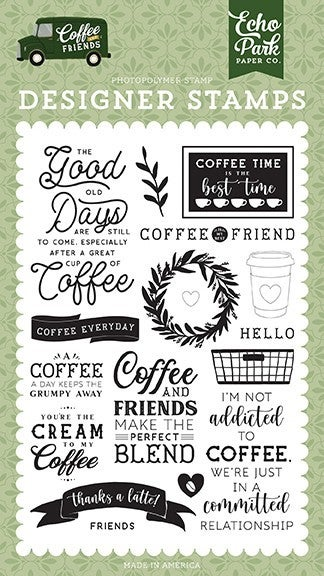 Echo Park Coffee and Friends Coffee Addict Clear Photopolymer Stamps -