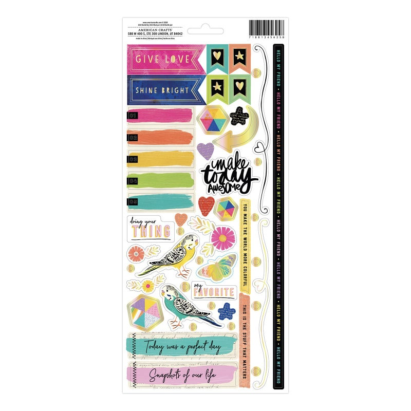 Vicki Boutin Color Study  6 x 12 Cardstock Sticker Sheet - Gold Holographic Foil Accent