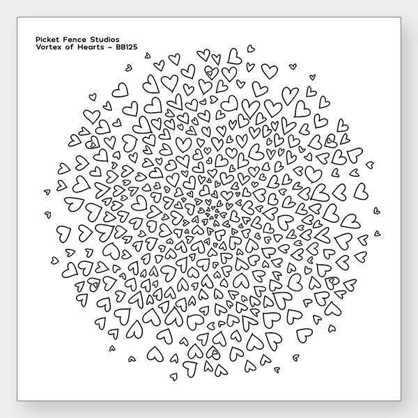 Picket Fence Studios Vortex of Hearts Stamp