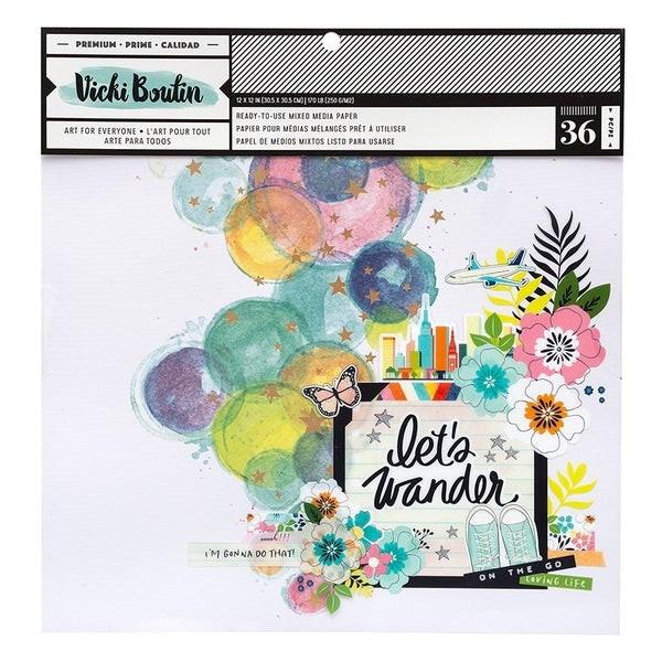 Vicki Boutin Let's Wander  12 x 12 Mixed Media Pad with Foil Accents
