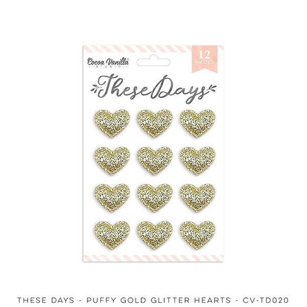 Cocoa Vanilla Studio THESE DAYS – GOLD GLITTER PUFFY HEARTS