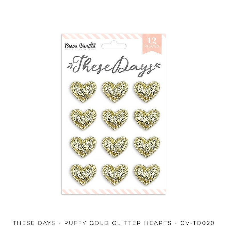PRE ORDER Cocoa Vanilla Studio THESE DAYS – GOLD GLITTER PUFFY HEARTS