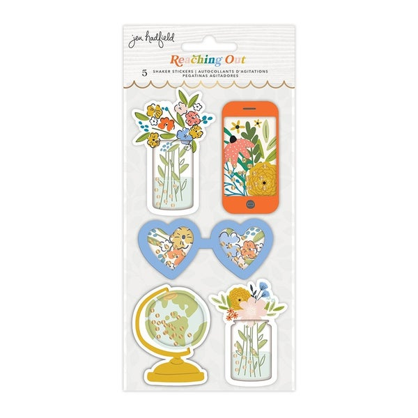 Jen Hadfield  Reaching Out Layered Shaker Sticker  Gold Foil Accents