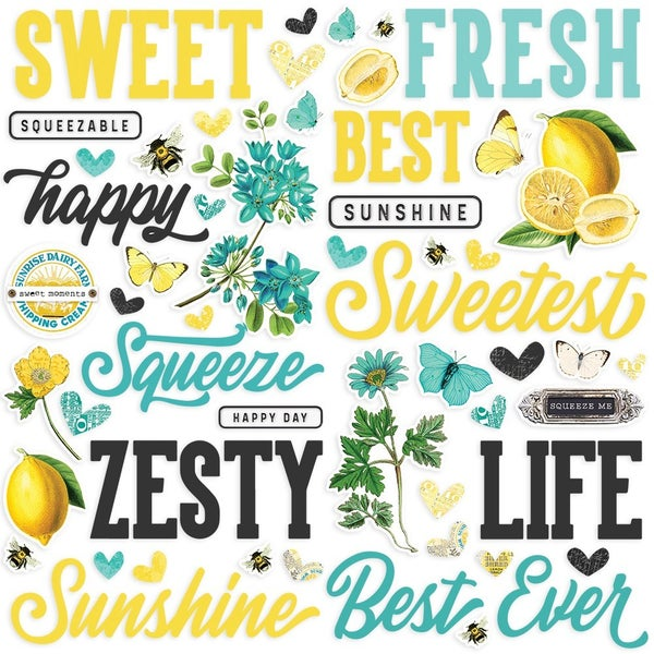 Simple Stories Simple Vintage Lemon Twist Foam Stickers