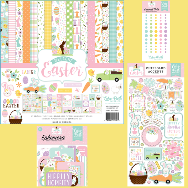 Echo Park Welcome Easter 4 pc Happy Scrappy Bag