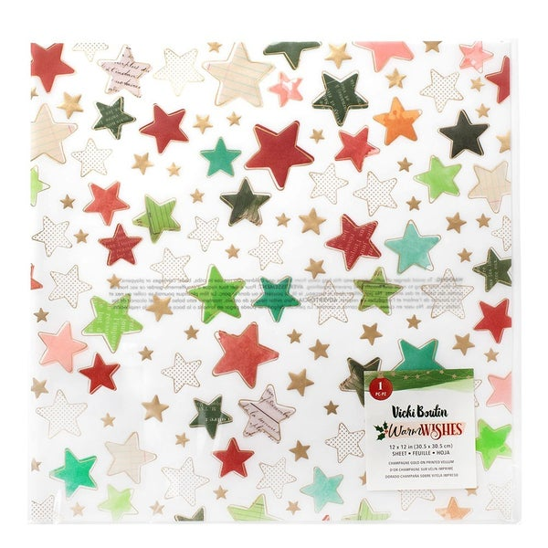 Vicki Boutin Warm Wishes Christmas  12 x 12 Specialty Paper Vellum with Champagne Gold Foil Accents