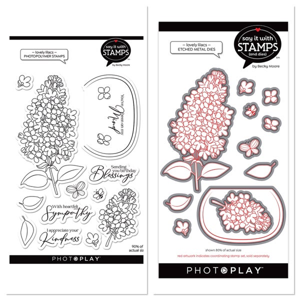 Photoplay Say It With Stamps - Lovely Lilacs Stamp and Die Set
