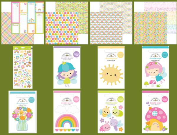 Doodlebug Design Fairy Garden 16 pc Happy Scrappy Bag