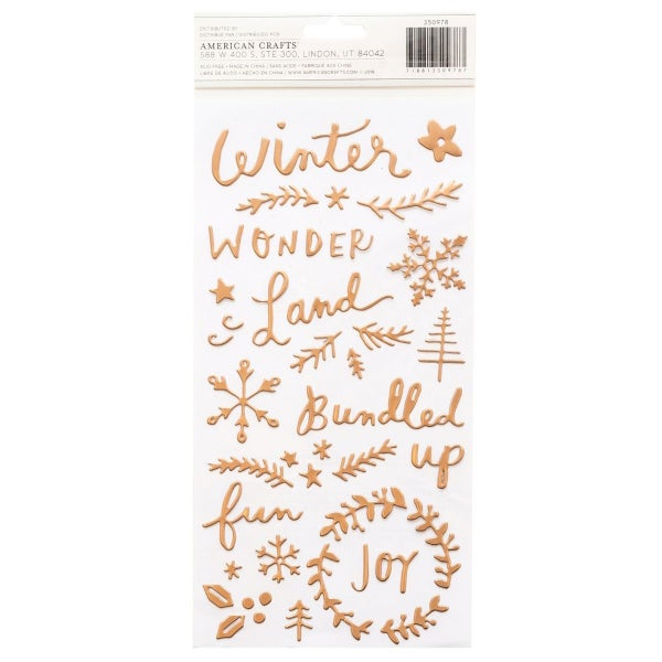 Crate Paper Chill Puffy Phrase & Icon Thickers -Snowflake