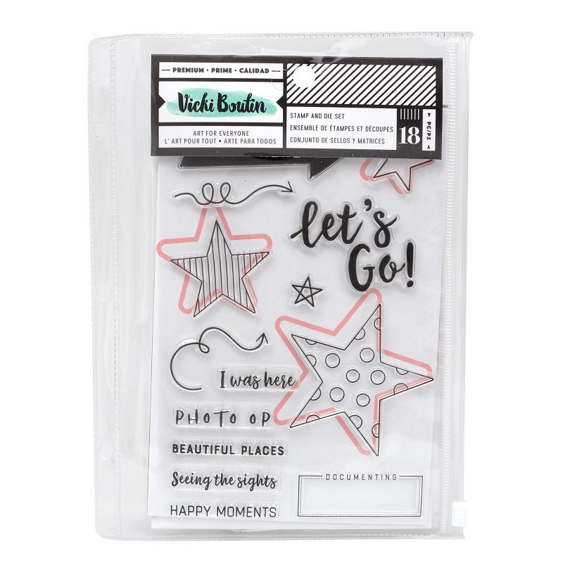 Vicki Boutin LET'S WANDER STAMPS AND DIES SET LET'S GO (18 PIECE)