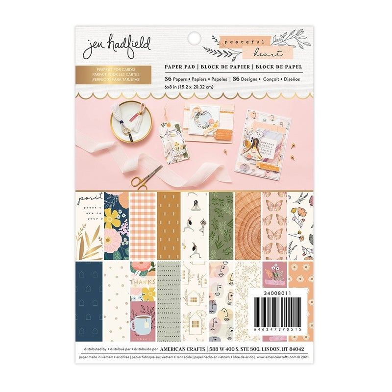 Jen Hadfield - Peaceful Heart  6 x 8 Paper Pad with Gold Foil Accents