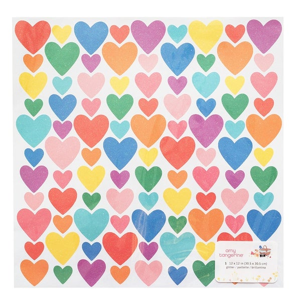 Amy Tangerine Picnic in the Park Heart  Iridescent Glitter 12 x 12 Specialty Paper