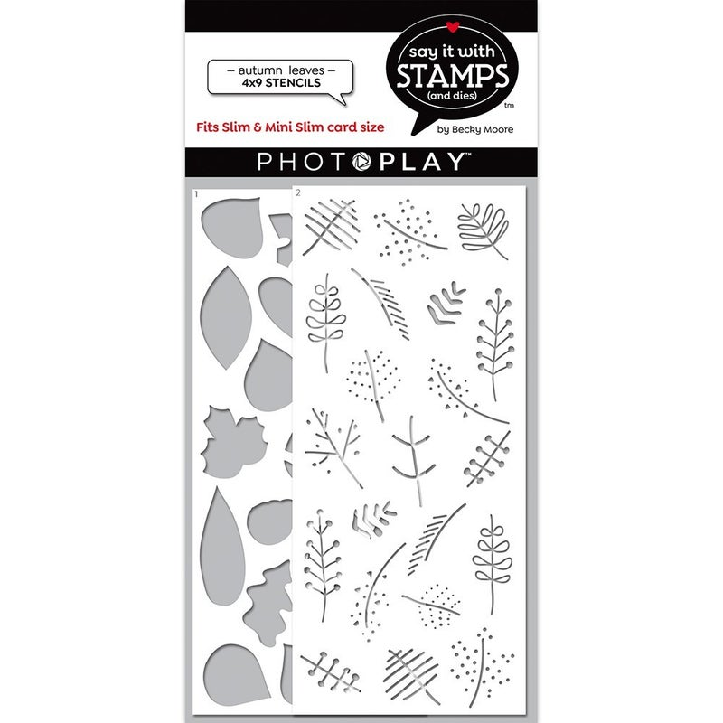 Photo Play Say It With Stamps Slimline - 4 x 9 Stencils - Autumn Leaves