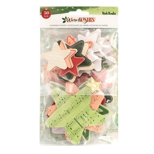 Vicki Boutin Warm Wishes Christmas Chipboard Stickers Stars and Hearts