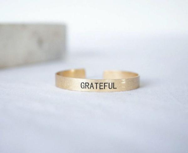 Grateful - Brushed Copper Cuff -Gold
