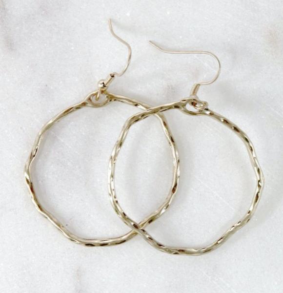 Round Hammered Hoop Earrings - Gold
