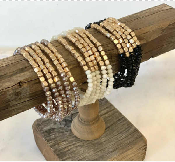 5 Strand Stone and Gold Bracelet Stack