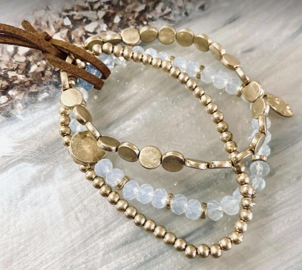3 Piece Bracelets Set w Gold Accents