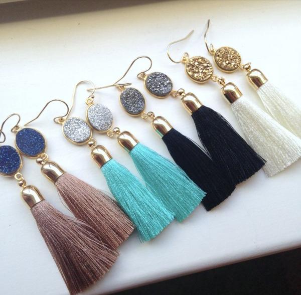 Gold Tassel  Druzy  Earrings