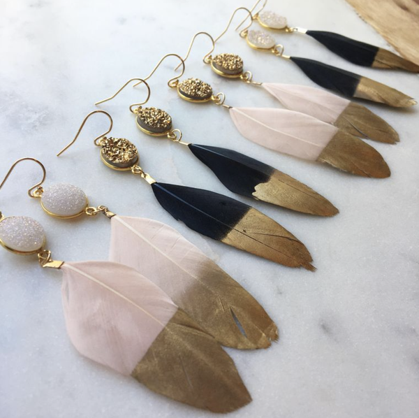 Gold Dipped Pink or Black Feather Earrings With White or Gold Druzy