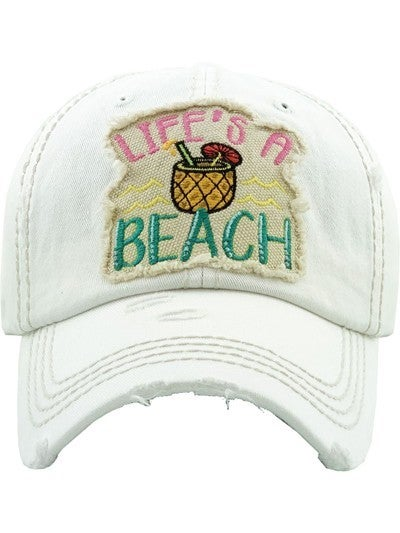 """Life's a Beach"" Distressed Baseball Hat"