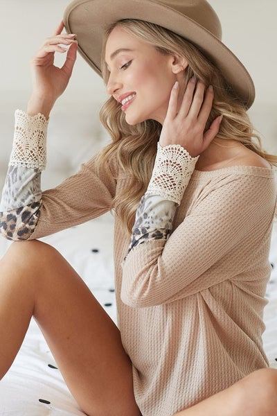 Waffle Knit Top with Crochet Cuff