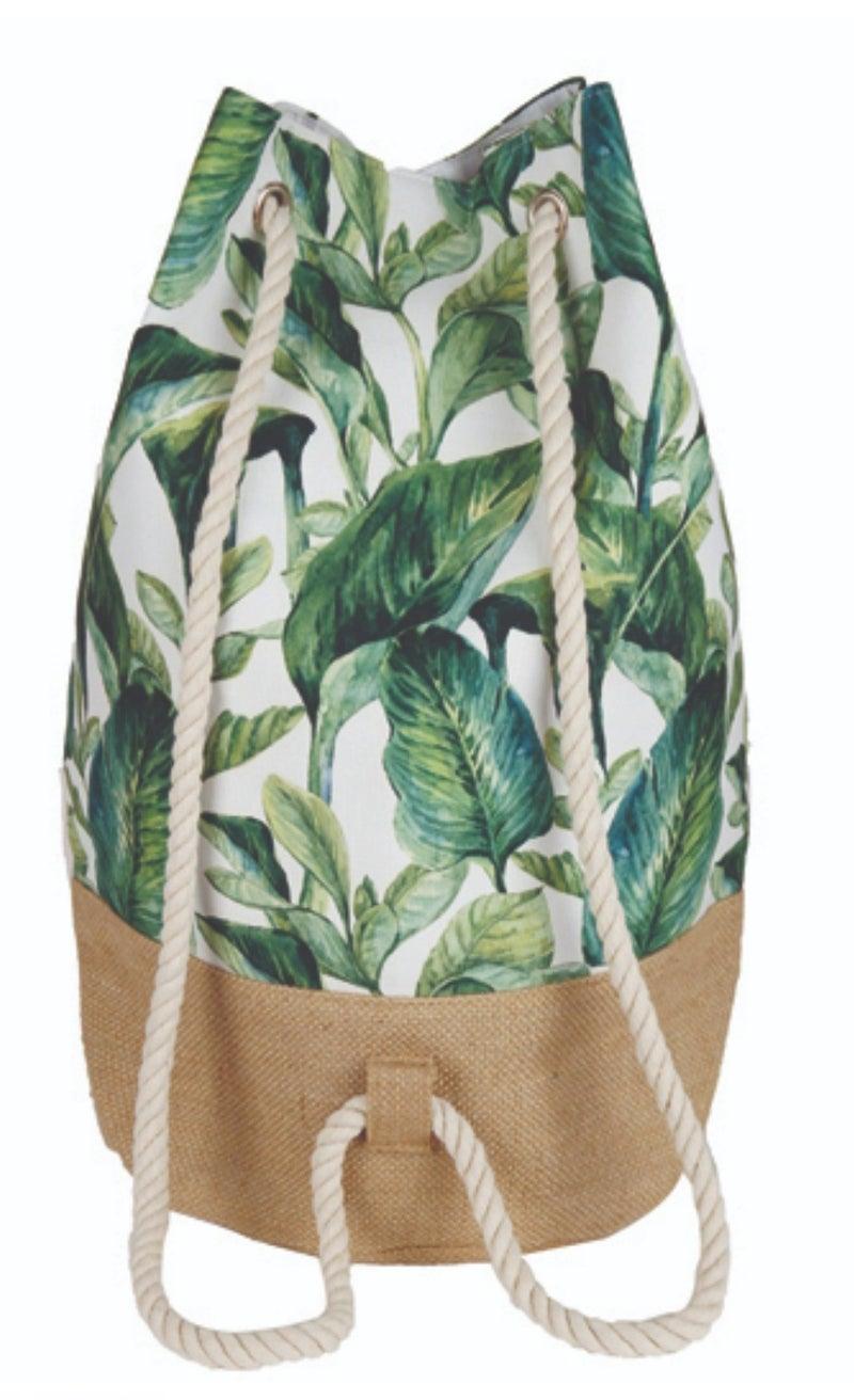 Tropical Leaves Bucket Bag Backpack