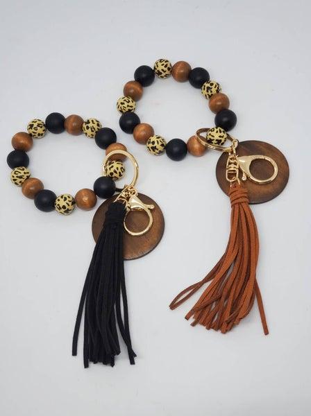 Leopard Wood Bead Bangle Bracelet
