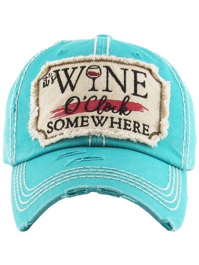It's Wine O'Clock Somewhere Distressed Hat