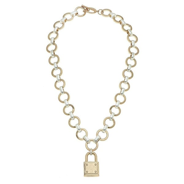 Two Tone Chain Link Lock Necklace