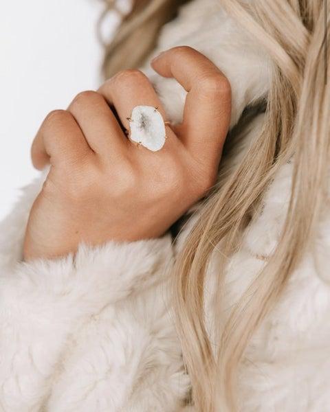 White Geode Ring