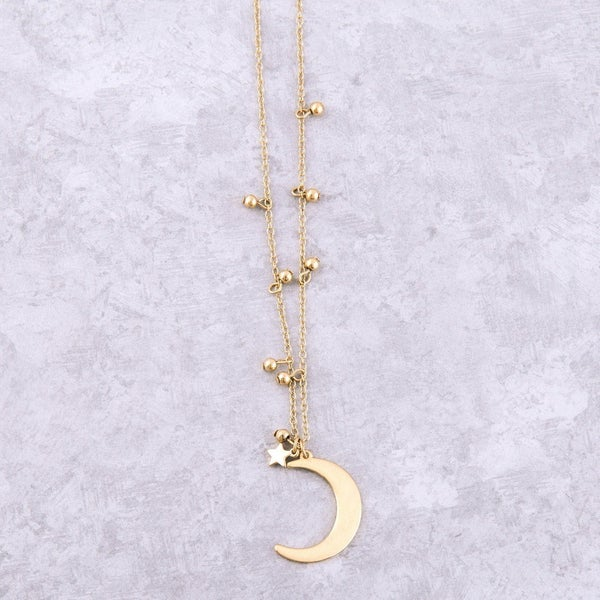 Worn Metal Moon & Star Necklace