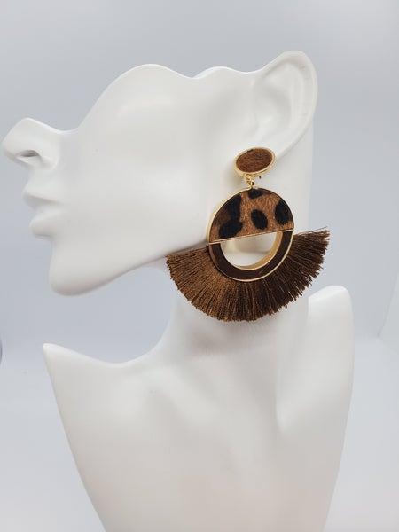 Animal Print Earring with Tassel