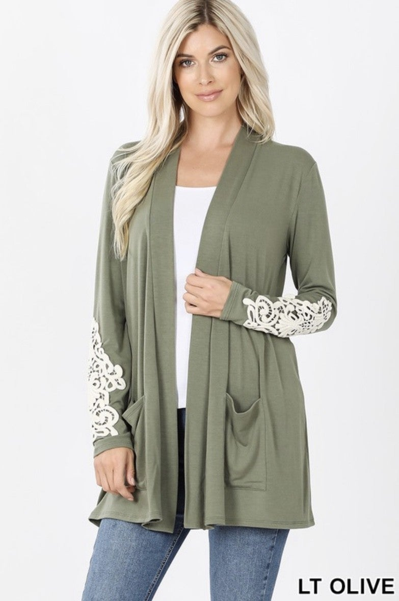 Cardigan with Lace Sleeve
