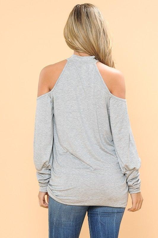 BLACK Cold Shoulder Long Sleeve Shirt