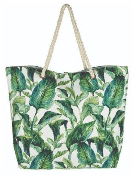 Tropical Leaves Beach Bag