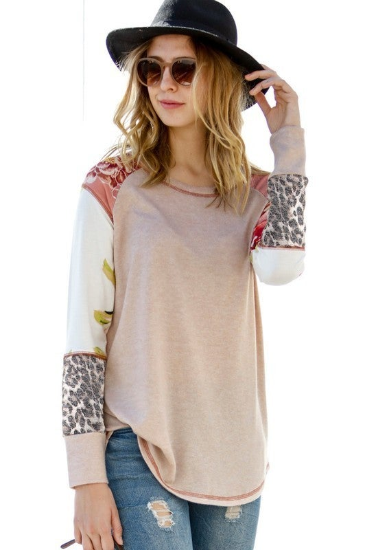 Mixed Prints Knit Top