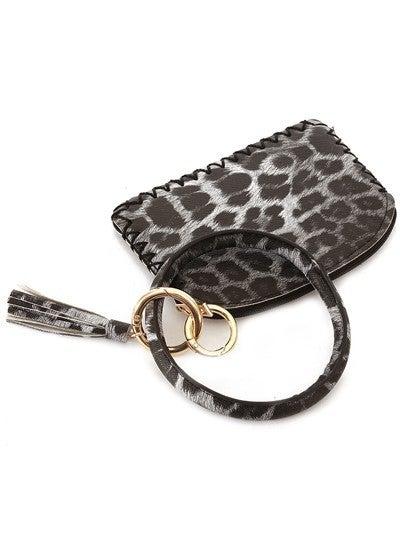 Leather Keychain Coin Purse (Cheetah)