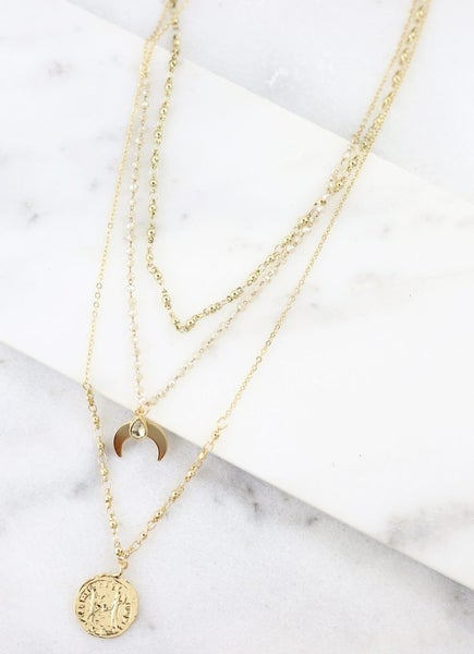 Gold Triple Layer Necklace with Crescent & Coin Charm