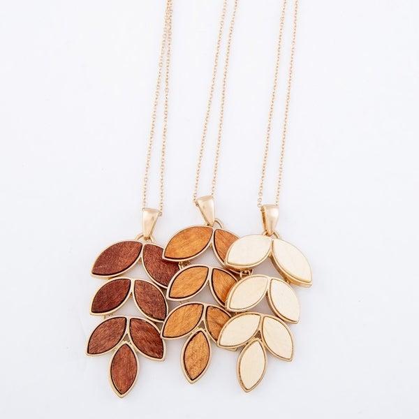 Wooden Leaf Pendant Necklace