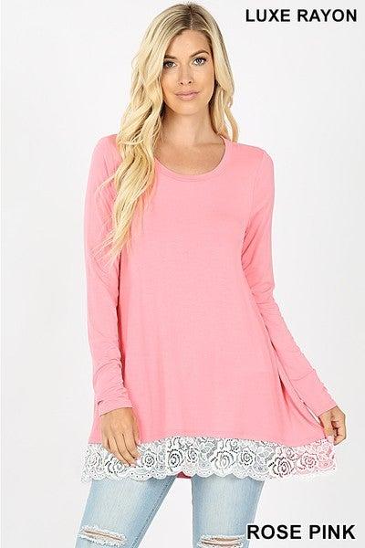 Long Sleeve Lace Trim Top