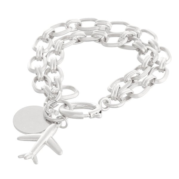 Chain Link Layered Airplane Charm Bracelet
