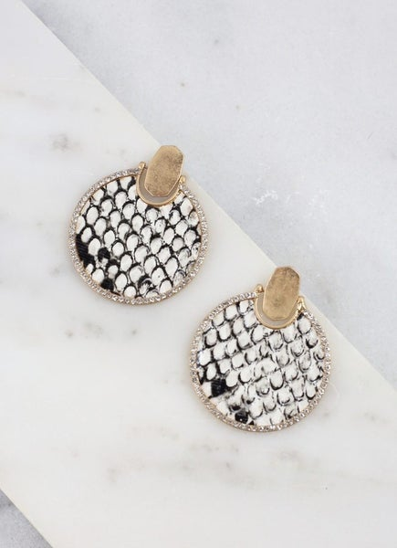 Round CZ Lined Animal Print Earrings
