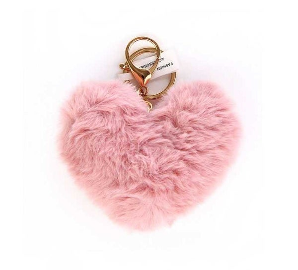Pom Heart Keychain